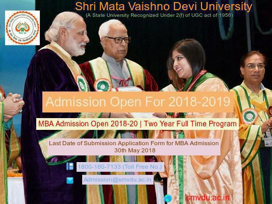 Shri Mata Vaishno Devi University MBA Admission has Started.